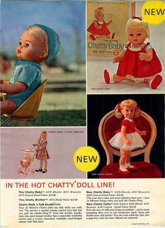 1963 Advert 7 PG Mattel Toy Dolls Barbie Store Display Wigs Charmin Chatty Twins | eBay