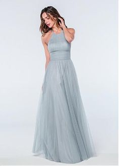 0b730ca692  77.99  Delicate Tulle Halter Neckline Backless A-line Bridesmaid Dresses  With Pleats
