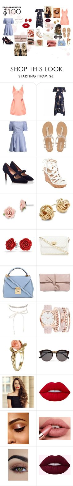 """dresses under 100$"" by melodievilleneuvef ❤ liked on Polyvore featuring Topshop, Head Over Heels by Dune, PAS DE ROUGE, GUESS, 1928, Saks Fifth Avenue, Bling Jewelry, Red Herring, Mark Cross and LULUS"