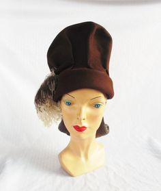 1940's Vintage High Fashion Brown Felt Hat with Ostrich Feather New York Creation