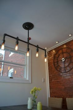 Hanging 5 Pendant Industrial Pipe Light  [ Edison Bulbs Included ]