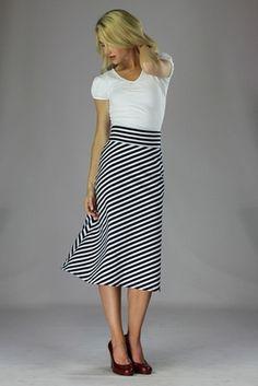 """Knit Midi A-Line"" Modest Skirt in Black/White Stripes"