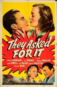 """They Asked for It 1939 Authentic 27"""" x 41"""" Original Movie Poster William Lundigan Comedy U.S. One Sheet"""