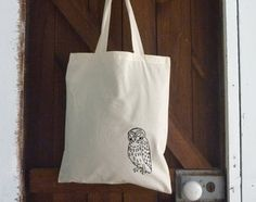 Owl Screen Printed Tote, Organic Tote Bag, Hand Printed, Owl Illustration, Shopping Bag, Canvas Bag, Beach Bag, Back To School