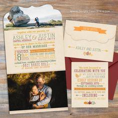 Beautiful fall wedding invitation set with custom typography and fall colors.  Designed by Jeneze, www.jeneze.com.