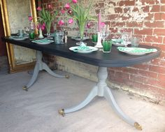 Sold - Vintage Painted Dining Table www.sallywhitedesigns.com