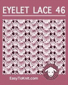 Tiny Shell stitch, Easy Eyelet Lace Pattern – Knitting patterns, knitting designs, knitting for beginners. Baby Knitting Patterns, Lace Knitting Stitches, Baby Hats Knitting, Knitting Charts, Lace Patterns, Knitting Yarn, Stitch Patterns, Crochet Patterns, Knitting Videos