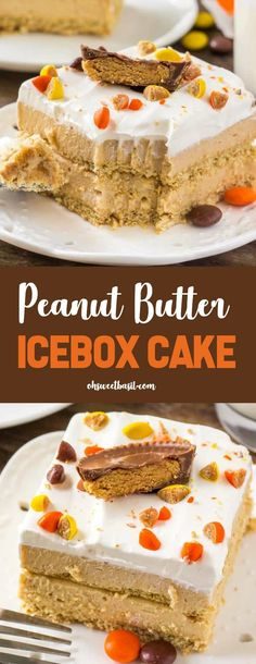 This peanut butter icebox cake just might be the perfect dessert for summer. Cold & creamy layers of peanut butter filling between graham crackers. Then topped with whipped topping and tons of peanut butter candies. Köstliche Desserts, Frozen Desserts, Delicious Desserts, Dessert Recipes, Pudding Desserts, Icebox Desserts, Icebox Cake Recipes, Peanutbutter Cake Recipe, Graham Cracker Dessert