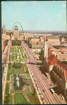 view down Market Street towards the Arch St Louis St Louis Skyline, Paris Skyline, Old Faithful, St Louis Mo, City Photography, Old Postcards, Great Places, Missouri, National Parks