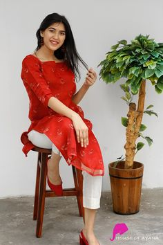Scarlett Organza Kurti with Cigarette Pants