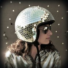 disco-ball bike helmet...  I might cause a car accident in this #helmet #safetyfirst #bling