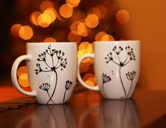 Queen Anne's Lace Hand Painted Decorative Ceramic Coffee Mugs - set of two.