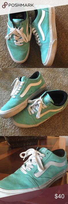 Vans Turquoise and white old skools. Love these but i just don't wear them often enough to keep them. Woman's 8/Men's 6.5 Vans Shoes Sneakers