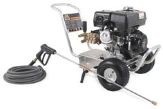 Mi-T-M Pressure Washer - CA-3003-0MKB Pump: Direct drive triplex piston AR pump with ceramic plungers · Stainless-steel and brass unloader · Adjustable pressure · Forged brass manifold · Thermal relief valve · In-line water strainer. 	  Features        PSI 3000      GPM 3.0    Read more here: http://www.shopetsonline.com/product-p/ca-3003-0mkb.htm#