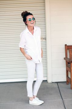 """White on white for casual summer. I feel like this is very """"ragged mother chic"""" and perfect for weekends!"""