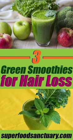 In this post, I want to share with you 3 green smoothies for hair loss to restore thinning hair and promote hair growth! Enjoy! #OilForHairLoss