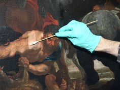 Rubens kopie? - De wilde jacht - Detail tijdens vernisafname - RestauratieatelierHaarlem.nl
