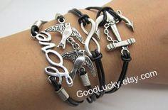 Infinity braceletanchor braceletlove birds by charmjewelrybracelet, $10.99
