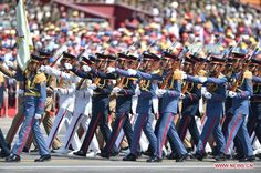 The honor guard of the Egyptian Army, Navy, Air Force, and Air Defense Forces marching through Tiananmen Square in Beijing at the 2015 Chinese V-J Day Parade.