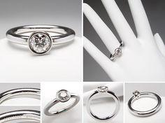 Tiffany & Co .45 Carat Bezel Set Diamond Engagement Ring Platinum Tiffany Bezet Round - EraGem