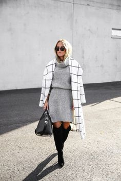 White Plaid Print Long Sleeve Turndown Collar Fashion Wool Coat