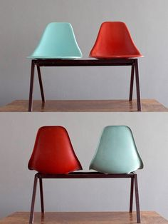 1950's Laundromat Shell Chairs in Turquoise & Red Fiberglass on Steel Tandem. $225.00, via Etsy.