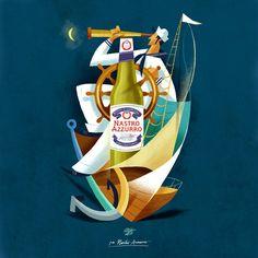 Illustrations : Riccardo Guasco pour la bière Peroni Nastro Azzurro (2015)