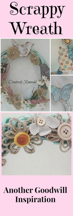 Spring/Summer Wreath, Crafting, Thrift Store, Goodwill, Garden Decor, Scrapbook Paper, Burlap Flowers, Buttons, Butterflies, Kitty, Birds, Home Decor, Handmade, Porch Decor, Nursery Decor, Fabric Flowers