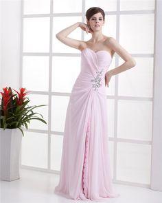 $166 Beautiful A-Line Sweetheart Chiffon Floor Length Sleeveless Evening Dress--27dress.com #pinkdress #promdress #27dresses #onlinedress #Christmasdress