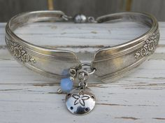 Spoon handle bracelet - sand dollar charm - opal blue crystal bead - silver vintage spoon handles - your color - magnetic clasp - Size 7 3/4