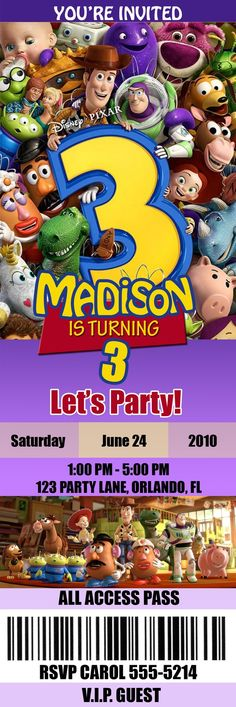 Toy Story 3 birthday party invitation- I totally just spent forever making the invitations and thought I was so clever finding and using this picture that she used here. lol....   I love this invite and now may have to tweak mine so it looks this cute!