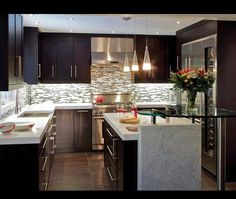 This is a #modern #kitchen with a beautiful backsplash. www.remodelworks.com