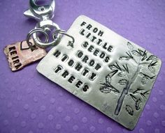Little Seeds Key Chain   Hand Stamped key chain personalized, $21.95