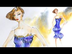 Fashion sketches: Cocktail dress - watercolor