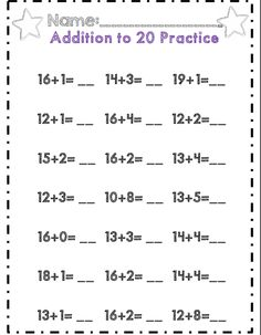 First grade addition to 20 page part of 45 page no prep addition and subtraction unit!  Common core aligned