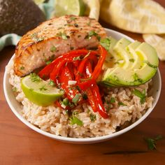 Cilantro Lime Salmon Bowls If you are eating healthy then you need to try Cilantro Ingredients Gluten free ∙ Serves 4 Seafood 4 Salmon filets Produce 1 Avocado 2 tbsp Cilantro 1 Garlic clove 1 Lime, wedges Condiments 2 tsp Honey cup Lime juice Pasta Salmon Recipes, Fish Recipes, Seafood Recipes, Chicken Recipes, Salmon Dishes, Fish Dishes, Seafood Dishes, Salmon Food, Salmon And Rice