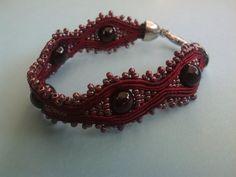 Burgundy Garnet Soutache Bracelet Glass by JewelleryByKassandra