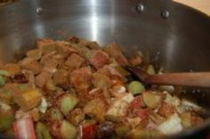 Rhubarb & Date Chutney - a lovely warm spicy flavour in this smooth chutney - great in a classic cheese sandwich