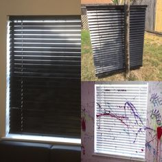 White Faux Wood Blinds Spray Painted With Rustoleum