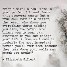 A true soul mate is a mirror