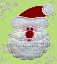Santa Face Holiday Christmas Applique  Machine by Embroitique, $2.99
