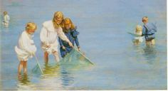 Children Catching Minnows, Oil by Charles Courtney Curran (1861-1942, United States)