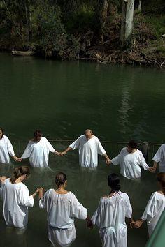 Baptism in the River Jordan . Israel