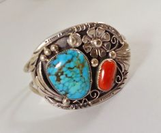 Native American Cuff Bracelet Turquoise Coral Signed Navajo by TracyBDesignsAZ on Etsy https://www.etsy.com/listing/223786675/native-american-cuff-bracelet-turquoise