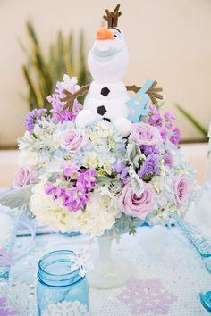 Frozen Birthday Party by Minted and Vintage Olaf Birthday, Frozen Themed Birthday Party, Disney Frozen Birthday, First Birthday Parties, 5th Birthday, Frozen Birthday Centerpieces, Frozen Party Decorations, Birthday Party Decorations, Craft Party