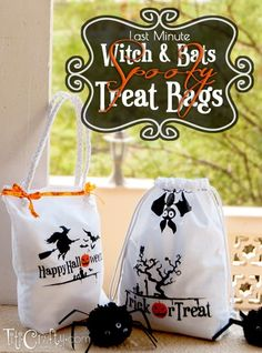 Learn how to make these cute and spooky halloween treat bags with full tutorial. Lots of fun customizing your bag with your kids and family!