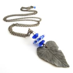 Long Leaf Pendant - Blue and White Glass £15.00