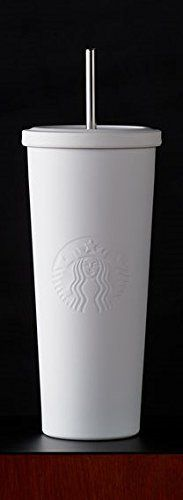 Starbucks Matte White Stainless Steel Cold Cup with Stainless Steel Straw 24 oz, http://www.amazon.com/dp/B010UL6BYM/ref=cm_sw_r_pi_awdm_5m8uwb1KSZH8F Starbucks Tumbler, Starbucks Drinks, Starbucks Products, Starbucks Coffee, Coffee Mugs, Coffee Shop, I Love Coffee, Coffee Break, Cup With Straw