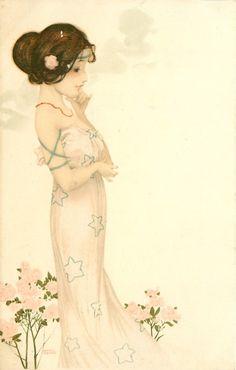 niña de vestido blanco con estampado de estrellas se enfrenta a la derecha, el mentón en la mano, rosas de color rosa debajo de