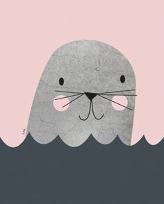 Isa Form foto poster little seal mint 30 x 40 cm Art And Illustration, Animal Illustrations, Character Illustration, Kids Prints, Art Prints, Foto Poster, Kids Poster, Art Graphique, Graphic Prints